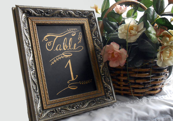 Calligraphy with Carnations design Table Number Card from Designs By Lorise