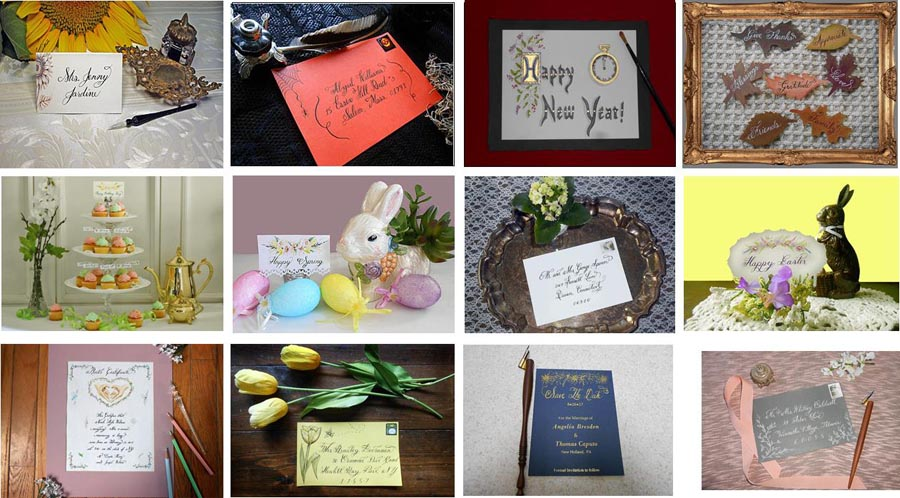 Gallery of Calligraphy Place Cards, Invitations,  Save The Date Cards, Favor Tags, Table Cards, etc.