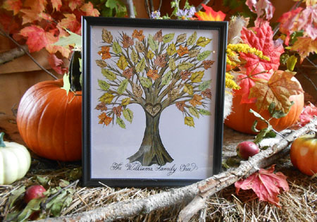 Watercolor and Calligraphy Family Tree Book Guest signature Print