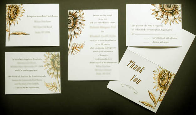 Calligraphy Sunflower Wedding Invitation Suite from Designs By Lorise
