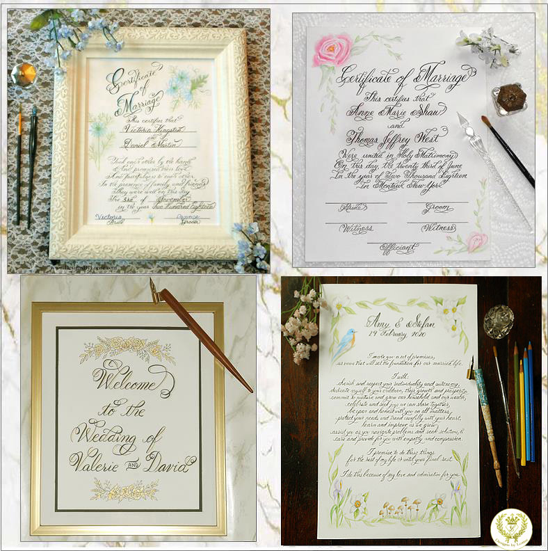 Calligraphy And Art Marriage Wedding Quaker Certificate Or Wedding Vows
